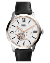 Fossil   Black 'townsman' Automatic Leather Strap Watch for Men   Lyst