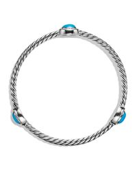 David Yurman | Blue Color Classics Three-Station Bangle With Turquoise And Diamonds | Lyst