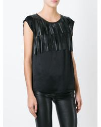 8pm - Black Fringed Top - Lyst
