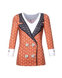 Microcosmos - Orange Blazer Print Top Red - Lyst