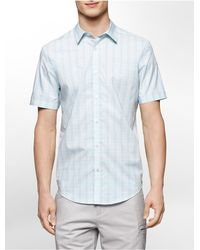 Calvin Klein | Blue White Label Classic Fit Multi Check Plaid Cotton Short Sleeve Shirt for Men | Lyst
