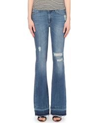 7 For All Mankind - Blue Charlize Flared Mid-rise Jeans - Lyst