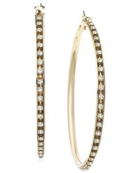 Guess | Metallic Gold-tone Crystal Hoop Earrings | Lyst