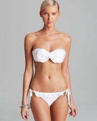 Pilyq | Bahama White Eyelet Bow Bandeau Bikini Top | Lyst