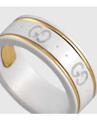 Gucci - Icon Ring In Yellow Gold And White Zirconia Powder - Lyst