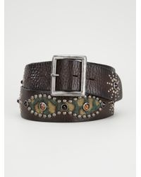 HTC Hollywood Trading Company - Brown Embellished Belt for Men - Lyst