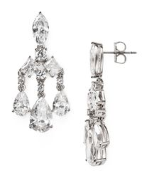 Nadri - Gray Small Chandelier Earrings - Lyst