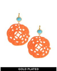 Kenneth Jay Lane | Orange Ornate Drop Earrings | Lyst