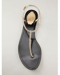 Rene Caovilla - Metallic Embellished T-Bar Sandals - Lyst