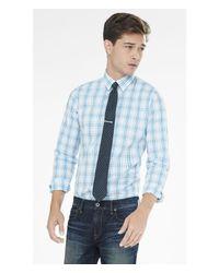 Express - Blue Tall Extra Slim Fit Plaid Dress Shirt for Men - Lyst