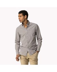 Tommy Hilfiger | Brown Cotton Check Fitted Shirt for Men | Lyst