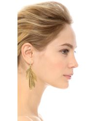 Rebecca Minkoff - Metallic Safari Haze Leaf Chandelier Earrings - Gold/crystal - Lyst