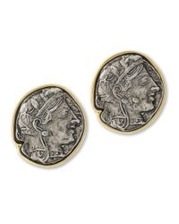 Kenneth Jay Lane | Metallic Twotone Coin Clip Earring | Lyst