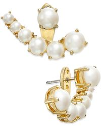 kate spade new york | Metallic Gold-tone Imitation Pearl Ear Jackets | Lyst