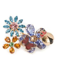 Dolce & Gabbana | Multicolor Floral Butterfly Double Cocktail Ring | Lyst