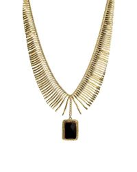 Kasturjewels - Metallic Statement Necklace with Black Agate Stone - Lyst