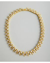 Noir Jewelry - Metallic Gold And Crystal Spiked And Studded Necklace - Lyst