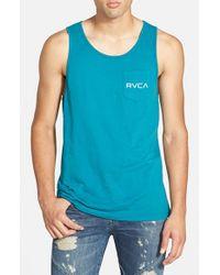 RVCA - Blue Pocket Logo Tank for Men - Lyst