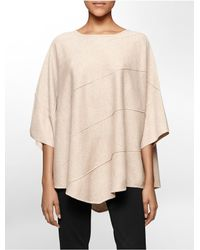 Calvin Klein - Natural White Label Diagonal Seamed Sweater Cape - Lyst
