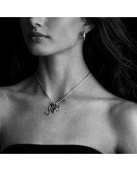 David Yurman - Metallic Sculpted Cable Medium Hoop Earrings with Diamonds - Lyst