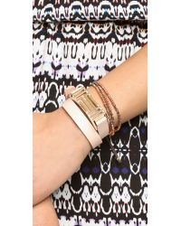 Tory Burch | Brown For Fitbit Fret Double Wrap Bracelet - Light Oak/Rose Gold | Lyst