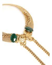 Ela Stone | Metallic Chain Stone Leopard Head Necklace | Lyst
