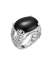 Rebecca Minkoff - Black Feather Stone Ring - Lyst
