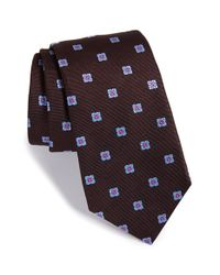 Ike Behar | Brown 'twill Ground Neat' Medallion Silk Tie for Men | Lyst