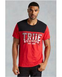 True Religion   Black Team Work Ss Football Mens Tee for Men   Lyst