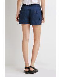 Forever 21 | Blue Utility Pocket Shorts | Lyst