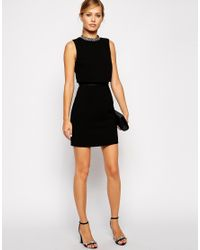 ASOS | Red Embellished Stand Collar Mini Dress | Lyst