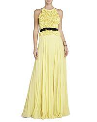 BCBGMAXAZRIA - Yellow Calida Sleeveless Gown - Lyst