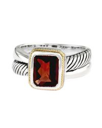 Effy | Red Balissima Sterling Silver And 18 Kt. Gold Ring With Garnet Stone Pendant | Lyst