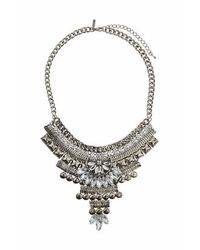 TOPSHOP | Metallic Stud And Crystal Drop Necklace | Lyst
