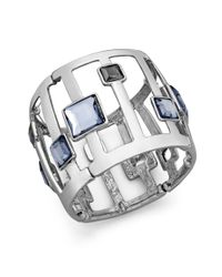 INC International Concepts | Metallic Silver-tone Square Stone Stretch Bangle Bracelet | Lyst