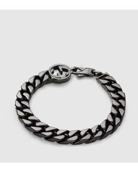 Gucci - Metallic Bracelet With Interlocking G Detail - Lyst