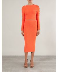 Cushnie et Ochs - Orange Cut Out Cropped Sweater - Lyst