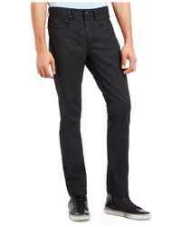 Kenneth Cole Reaction - Black Coated Twill Jeans for Men - Lyst
