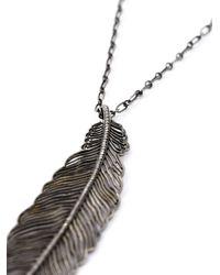 Monan - Metallic Feather Pendant Necklace - Lyst