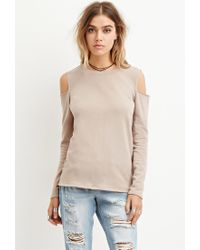 Forever 21   Brown French Terry Open-shoulder Top You've Been Added To The Waitlist   Lyst