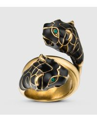 Gucci | Metallic Tiger Head Ring With Black Enamel | Lyst