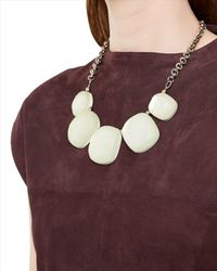 Jaeger - White Hammered Pebble Necklace - Lyst
