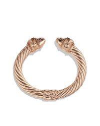 David Yurman | Pink Renaissance Bracelet With Cognac Diamonds In Rose Gold, 10mm | Lyst