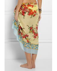 Dolce & Gabbana - Yellow Printed Cotton Sarong - Lyst