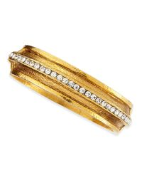 Jose & Maria Barrera - Metallic Hammered Gold-plated 1-row Crystal Bracelet - Lyst