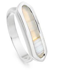Monica Vinader | Metallic Silver Grey Agate Baja Ring | Lyst