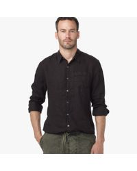 James Perse | Black Canvas Linen Shirt for Men | Lyst