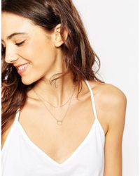 ASOS | Metallic Gold Plated Sterling Silver Open Squares Multirow Necklace | Lyst