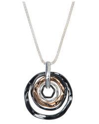 Nine West | Metallic Tri Tone Orbital Pendant Necklace | Lyst