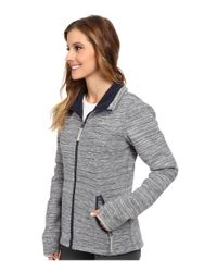 Bench - Blue Dissymetric Hooded Zip Thru Knit Jacket - Lyst